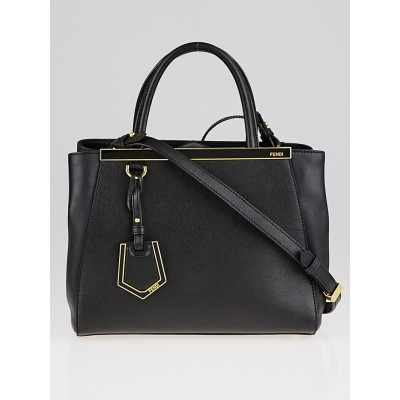 Fendi Black Vitello Leather Petite Sac 2Jours Elite Tote Bag 8BH253