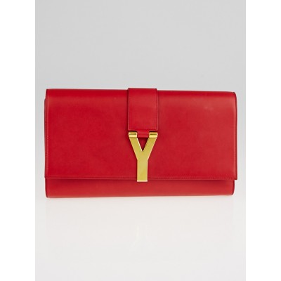 Yves Saint Laurent Red Calfskin Leather Ligne Y Clutch Bag