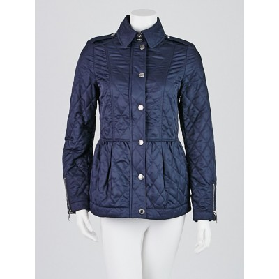Burberry Brit Blue Quilted Polyester Peplum Jacket Size XS