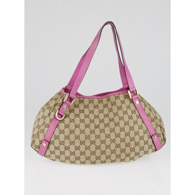 Gucci Beige/Pink GG Canvas Abbey Tote Bag