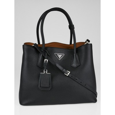 Prada Black Vitello Daino Leather Double Handle Tote Bag 1BG007