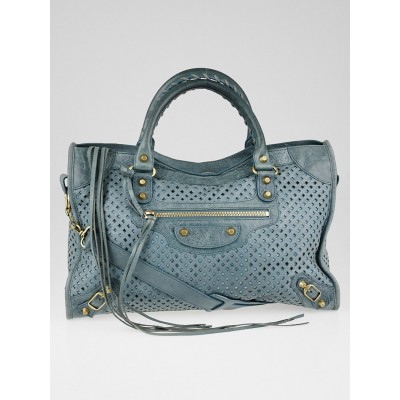 Balenciaga Blue Cross Perforated Lambskin Leather Motorcycle City Bag