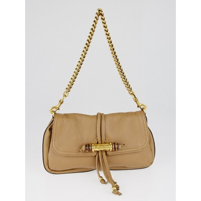 Gucci Beige Pebbled Leather Bamboo Flap Pochette Bag