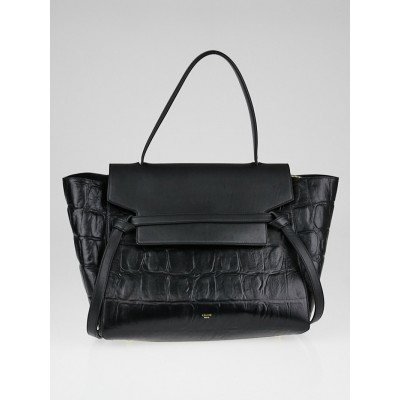 Celine Black Embossed Calfskin Leather Small Belt Bag