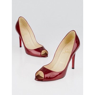Christian Louboutin Rouge Patent Leather You You 100 Peep-Toe Pumps Size 7/37.5