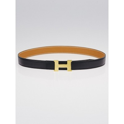 Hermes 24mm Black Box/Vache Natural Leather Gold Plated Constance H Belt Size 70