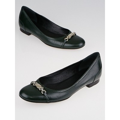 Gucci Green Leather Ballet Flats Size 5.5/36