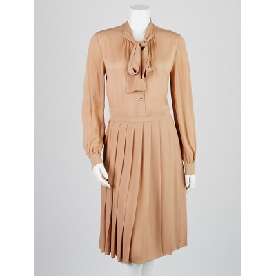 Gucci Beige Silk Long Sleeve Dress Size 8/42