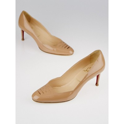 Christian Louboutin Nude Patent Leather Cutout Detail Pumps Size 8.5/39