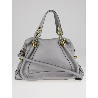 Chloe Grey Cashmere Pebbled Leather Medium Paraty Bag