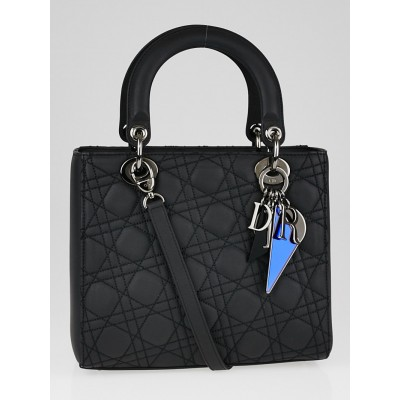 Christian Dior Limited Edition Matte Black Cannage Quilted Calfskin Leather Anselm Reyle Medium Lady Dior Bag