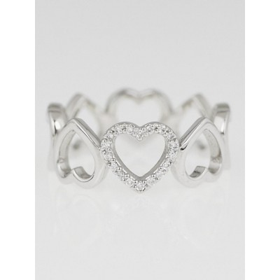 Tiffany & Co. 18k White Gold and Diamond Metro Heart Eternity Ring Size 7