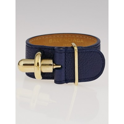 Balenciaga Blue Obscure Leather Tube Bracelet
