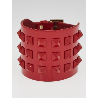 Valentino Red Patent Leather Rockstud Wide Bracelet