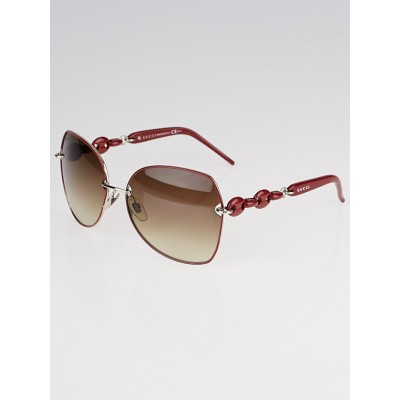 Gucci Red Metal Frame Chain-Link Gradient Lens Sunglasses - 4202