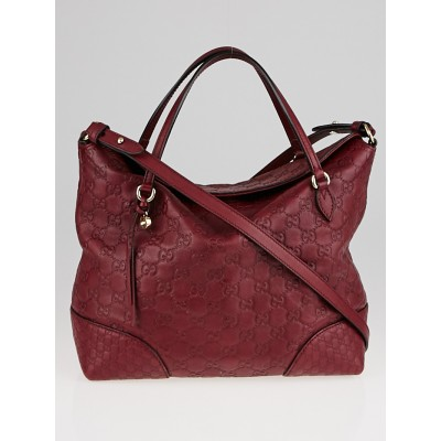 Gucci Red Guccissima Leather Bree Top Handle Bag