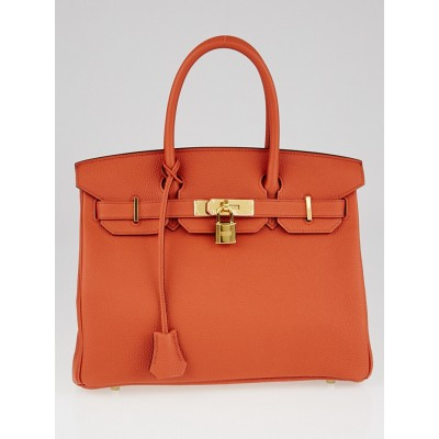 Hermes 30cm Terre Battue Togo Leather Gold Plated Birkin Bag