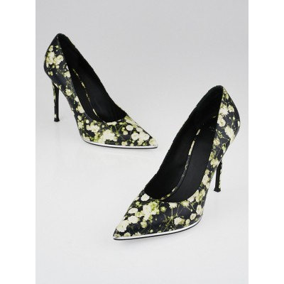 Givenchy Floral Print Leather Pointed Toe Pumps Size 9.5/40