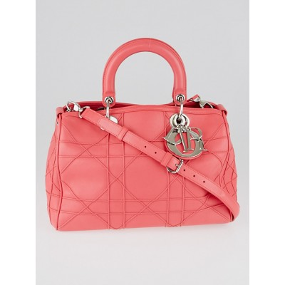 Christian Dior Pink Cannage Quilted Lambskin Leather Granville Polochon Bag