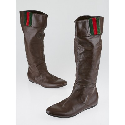 Gucci Brown Leather Vintage Web Tall Boots Size 7.5/38