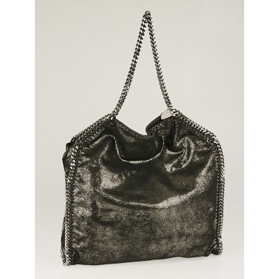 Stella McCartney Black Pearlescent Faux Leather Falabella Big Tote Bag