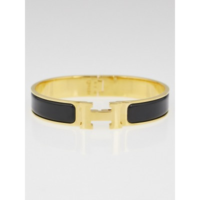 Hermes Black Enamel and Gold Plated Clic H PM Bracelet