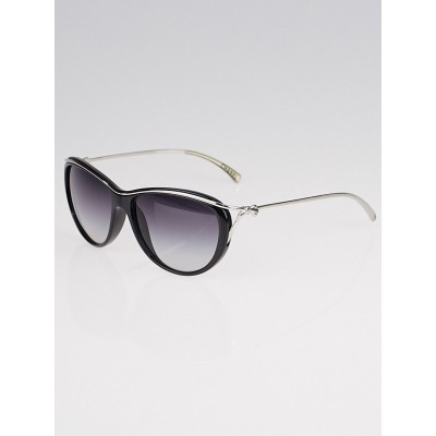 Chanel Black Acetate and Silvertone Metal Frame Bow Sunglasses - 5179