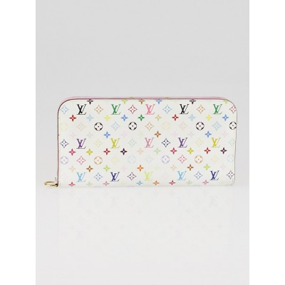 Louis Vuitton White Monogram Multicolore Litchi Insolite Wallet