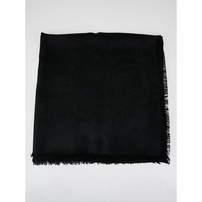 Louis Vuitton Black Monogram Silk/Wool Shawl Scarf
