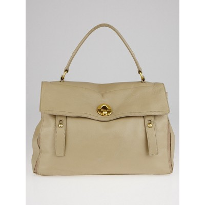 Yves Saint Laurent Khaki Leather/Canvas Large Muse Two Bag