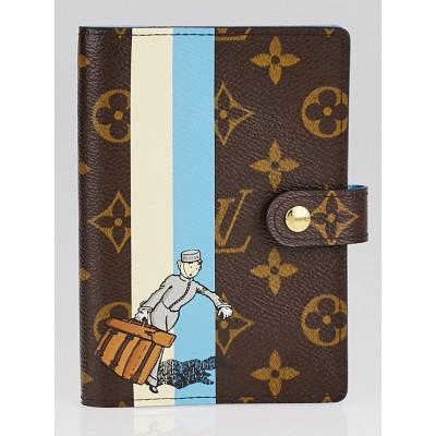 Louis Vuitton Limited Edition Blue/White Monogram Groom Small Ring Agenda PM