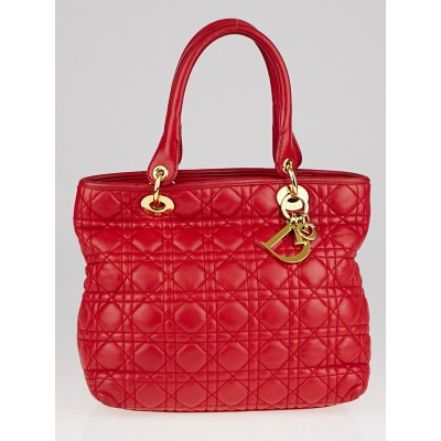 Christian Dior Red Cannage Quilted Lambskin Leather Medium Lady Tote Bag