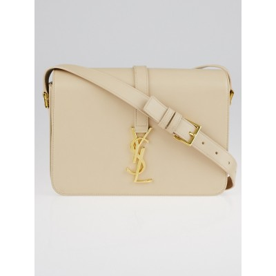 Yves Saint Laurent Beige Smooth Leather Monogramme Flap Bag