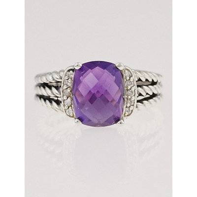 David Yurman Amethyst and Diamonds Petite Wheaton Ring Size 6.5