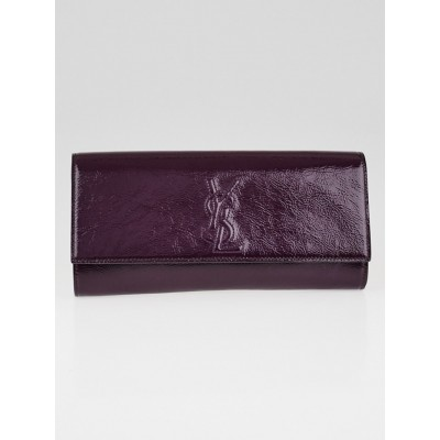 Yves Saint Laurent Purple Textured Patent Leather Small Belle de Jour Clutch Bag