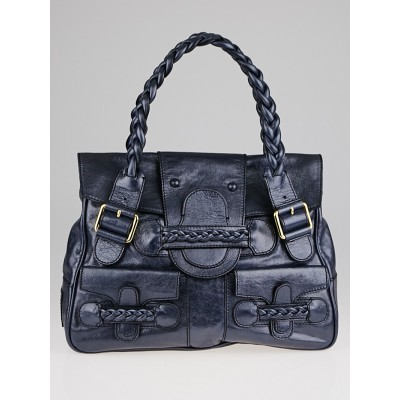 Valentino Garavani Metallic Blue Leather Histoire Bag
