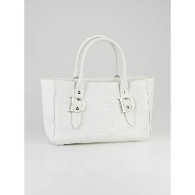 Christian Dior White Quilted Leather Cannage Small Tote Bag