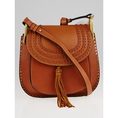 Chloe Caramel Smooth Braided Leather Medium Hudson Bag