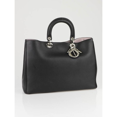 Christian Dior Black Leather Lady Dior Large Tote Bag