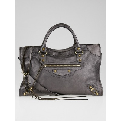 Balenciaga Bronze Chevre Leather Motorcycle City Bag