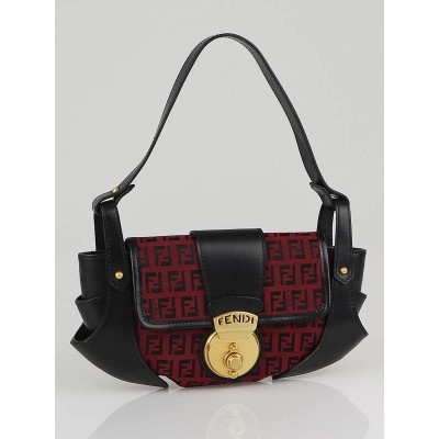 Fendi Black/Red Zucchino Canvas Pochette Evening Bag