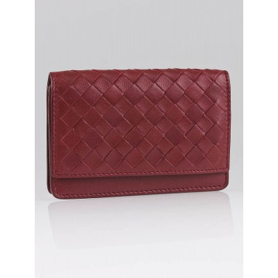 Bottega Veneta Vermillion Woven Leather Card Holder