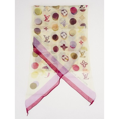Louis Vuitton White Multicolore Cotton and Silk Monogram Scarf