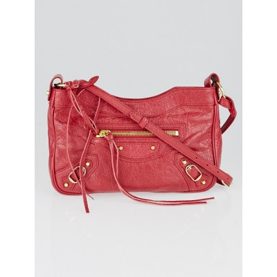 Balenciaga Rouge Safran Lambskin Leather Hip Bag