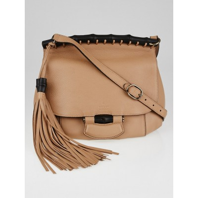 Gucci Camellia Pebbled Leather Nouveau Tassel Bamboo Crossbody Bag