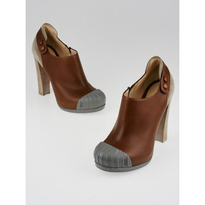 Fendi Brown Leather and Suede Fendishire Booties Size 7/37.5