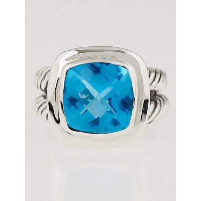 David Yurman 11mm Blue Topaz and Sterling Silver Albion Ring Size 6.5