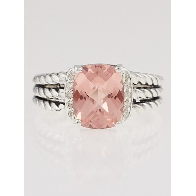 David Yurman Morganite and Diamonds Petite Wheaton Ring Size 7