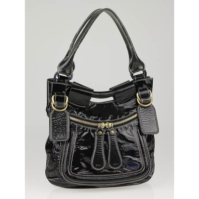 Chloe Dark Blue Patent Leather Small Bay Bag