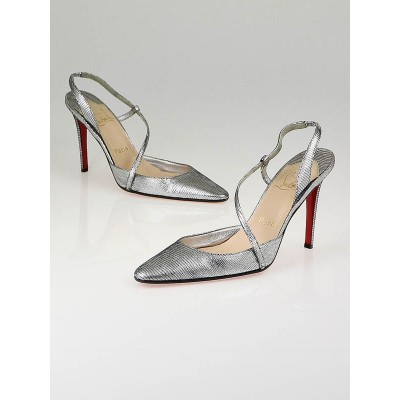 Christian Louboutin Silver Leather Isado Sexy Slingbacks Size 8.5/39